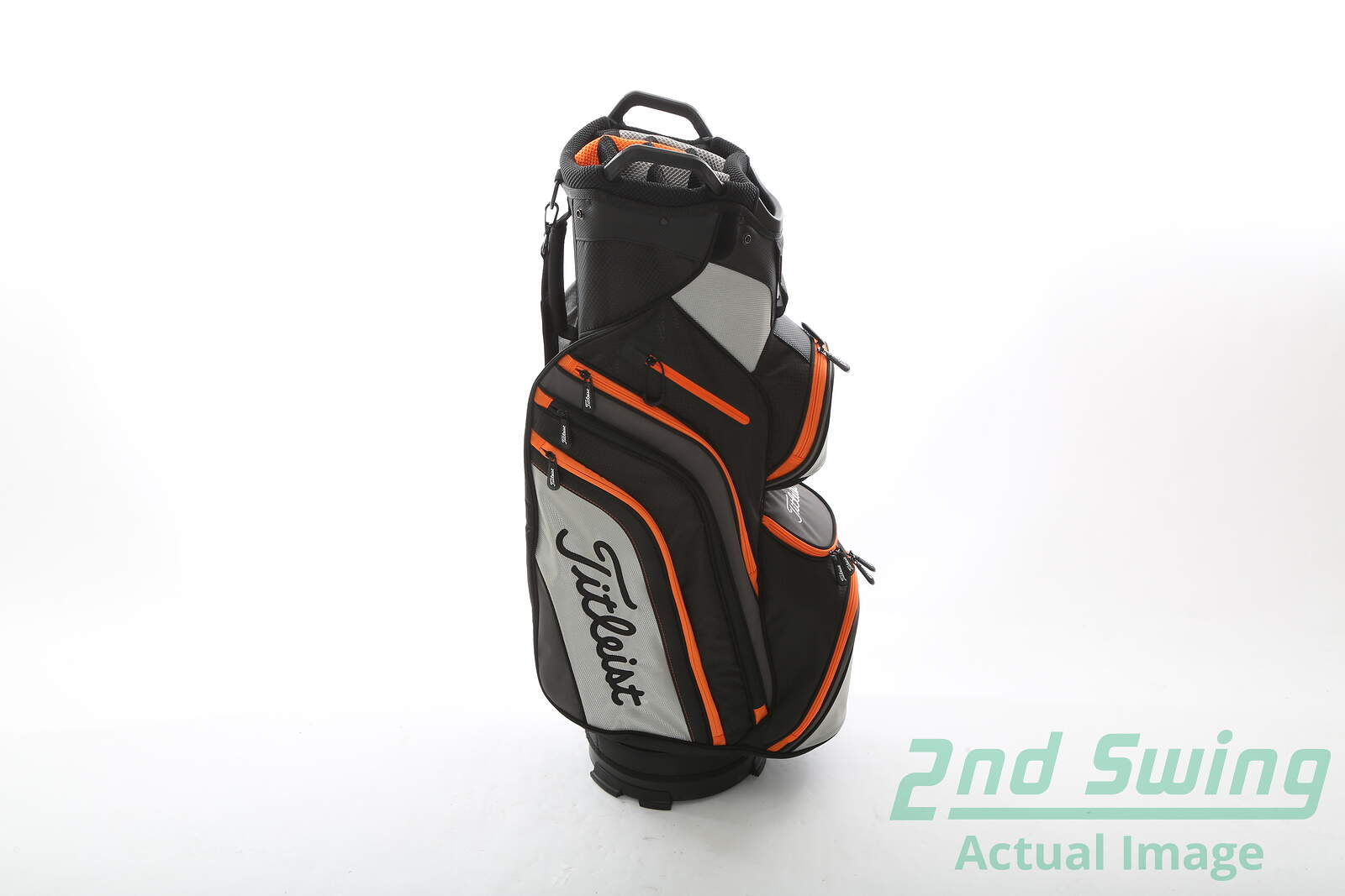 New Leist Deluxe Black Grey Orange Cart Bag 14 Way Shirt 9 5 In Mouth 2nd Swing Golf