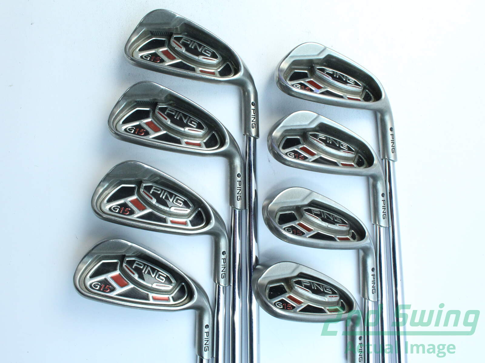 Used Ping G15 Iron Set 5-PW SW LW Ping AWT Steel Stiff Right Handed ...