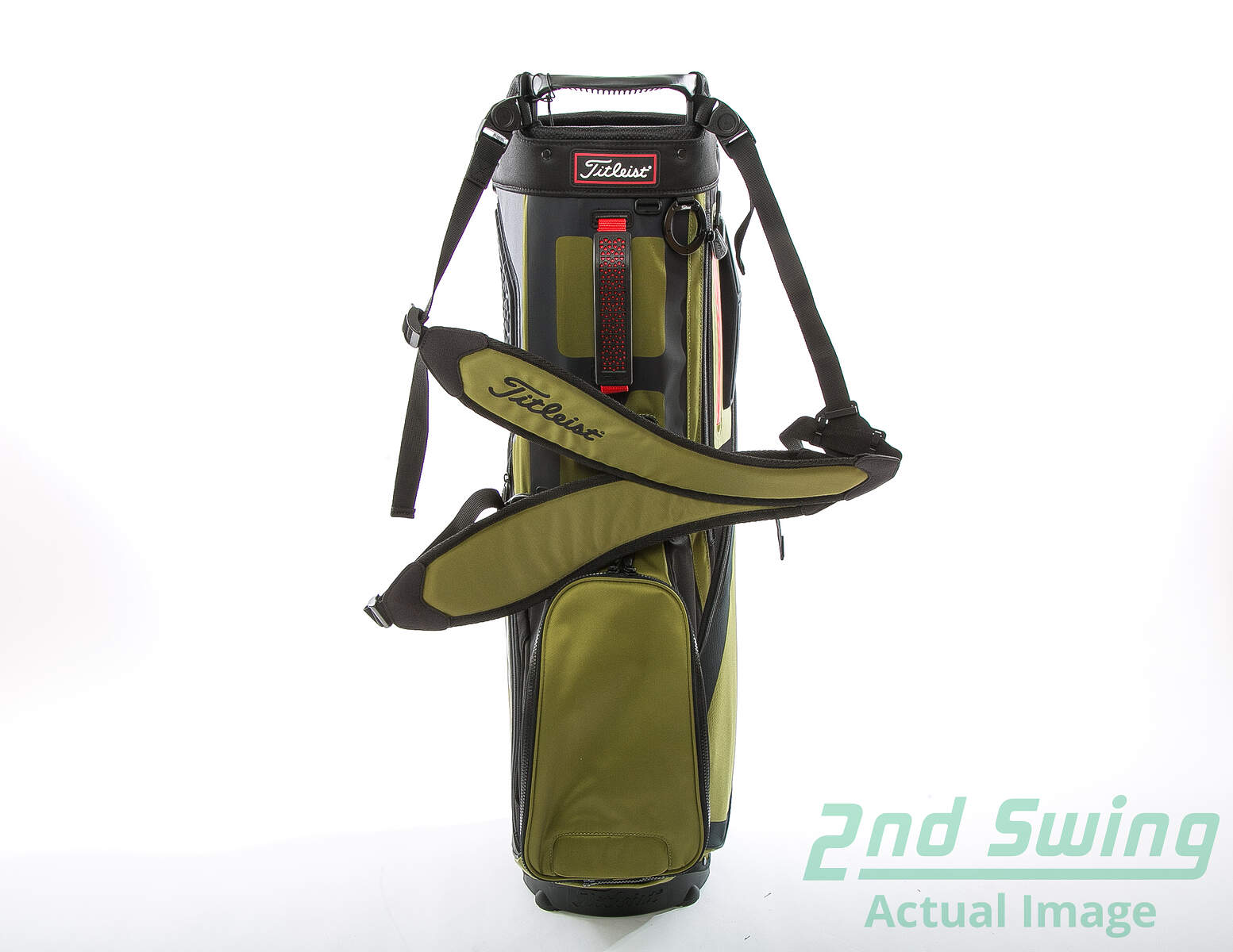 aac735596c5 New Titleist Players 5 Stand Bag Black/Olive/Red With Rain Cover   2nd  Swing Golf