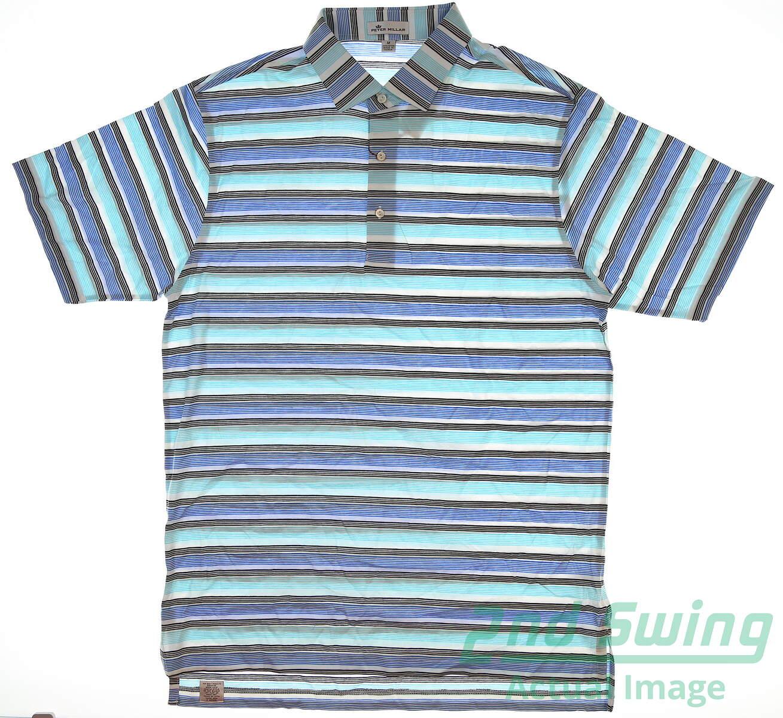 eb600f4a New Mens Peter Millar Striped Golf Polo Medium M Sailing Blue/White MSRP  $95 MS17K06S