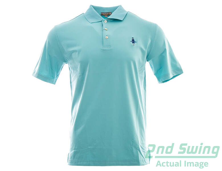 New w logo mens peter millar golf polo small s blue msrp for Peter millar golf shirts