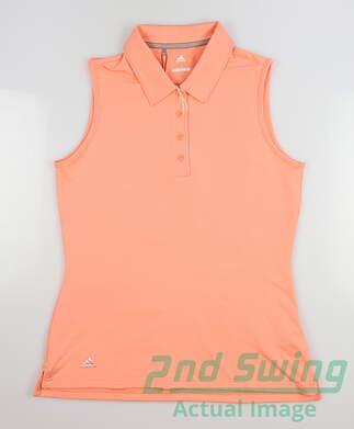 new-womens-adidas-sleeveless-golf-polo-small-s-orange-msrp-55-ce3077