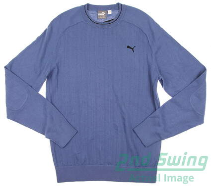 New Mens Puma ThermoCool Crew Neck Golf Sweater Medium Federal Blue 569305
