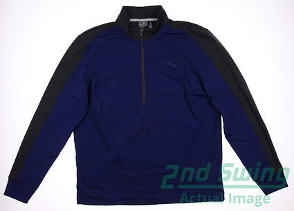 New Mens Puma Dry Cell PWR Warm Golf Pullover Medium Sodalite Blue 569100 MSRP $75