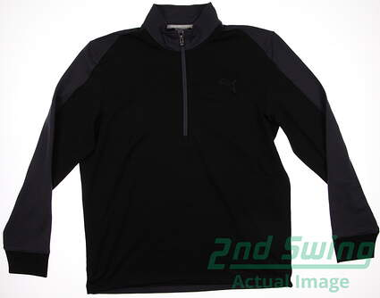 New Mens Puma Quarter Zip Color Block Warm Cell Pullover Medium Black 569100 MSRP $75