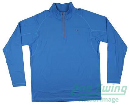 New Mens Puma Dry Cell Wicking Solid Tech Golf Pullover Medium Blue 569113 MSRP $65
