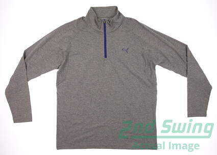 New Mens Puma Quarter Zip Wicking Dry Cell Golf Pullover Medium Heather Gray 569113 MSRP $65