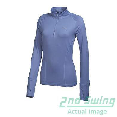New Womens Puma Golf Dry Cell 1/4 Zip Pullover Small Bleached Denim 569077 MSRP $75