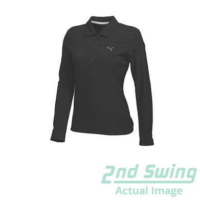 New Womens Puma Woven Dry Cell Long Sleeve Golf Polo Small Black 569069 MSRP $60