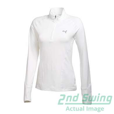 New Womens Puma Performance Baselayer Dry Cell Golf 1/4 Zip Pullover Small White 569077 MSRP $65