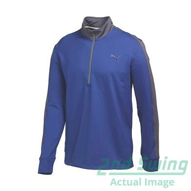 New Mens Puma ColorBlock Warm Cell PWR Warm Golf 1/4 Zip Pullover Medium Blue 569100 MSRP $80