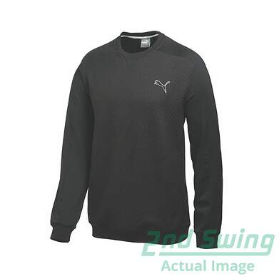New Mens Puma Quilted Crew Neck Performance Golf Sweatshirt Medium Black 569611 MSRP $75