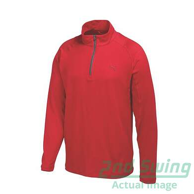New Mens Puma Dry Cell Baselayer Wicking Golf 1/4 Zip Pullover Medium Tango Red 569113 MSRP $65
