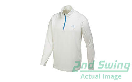 New Mens Puma Solid Tech Golf 1/4 Zip Pullover Medium White 569113 MSRP $65