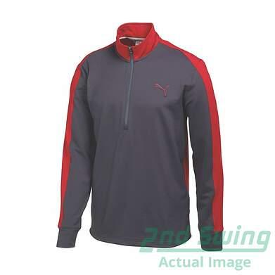 New Mens Puma PWR Warm Stretch ColorBlock Golf 1/4 Zip Pullover Medium Gray 569100 MSRP $75