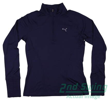 New Womens Puma Golf 1/4 Zip Pullover Small Medieval Blue 569077 MSRP $65