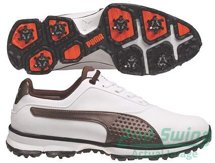 New W/O Box Mens Puma Titanlite Golf Shoes Size 9 Medium White/Brown 187579 MSRP 120.00