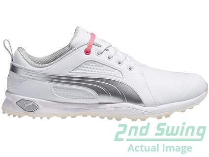 New W/O Box Womens Puma BioFly Spikeless Golf Shoes 7 Medium White/Gray 187877 MSRP 90.00