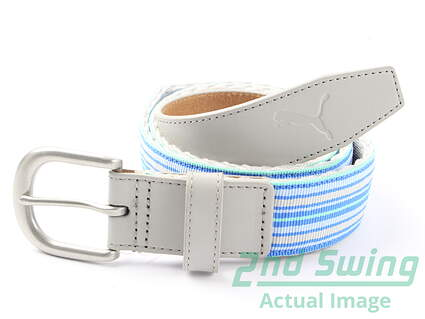 New Womens Puma Regatta Fitted Gray Stripe Bridle Buckle Golf Belt Large MSRP $35