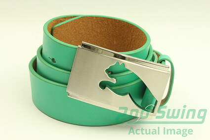 New Mens Puma Pool Green Stencil Cut Fitted Golf Belt Large 100cm Leather MSRP $55