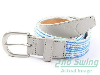 New Womens Puma Golf Belt Size Large Ribbon Grey MSRP $35