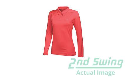 New Womens Puma Long Sleeve Luxury Golf Polo Small Cayenne 568339 MSRP $65.00
