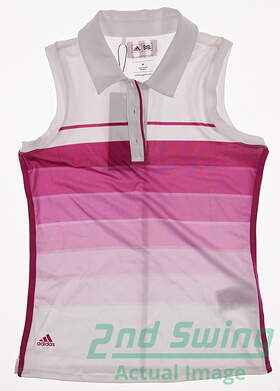 New Womens Adidas All Sleeveless Polo X-Small XS White MSRP $50
