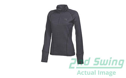 New Womens Puma Warm Cell Thermal Lined 1/4 Zip Golf Pullover Small Gray Stripe MSRP $75