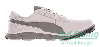New Mens Golf Shoes Puma BioDrive Leather Medium 9.5 White/Limestone Gray 188337-02 MSRP $120