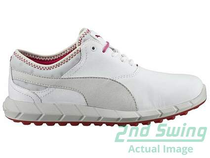 New W/O Box Womens Golf Shoes Puma Ignite Spikeless White/Glacer Gray/Rose Red Medium 7 189109-01 MSRP $110