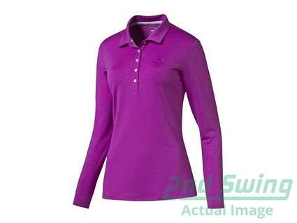 Womens Puma Golf Long Sleeve Polo Small S Purple Cactus Flower MSRP $70