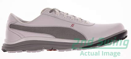 New Mens Golf Shoes Puma BioDrive Leather Medium 9 White/Limestone Gray 188337-02 MSRP $120