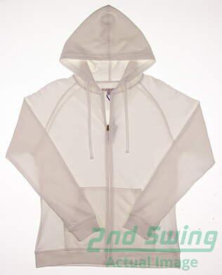 New Womens Peter Millar Full Zip Hoodie Large L White MSRP $120
