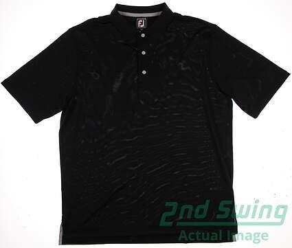 New Mens Footjoy ProDry Pique Solid Golf Polo Medium M Black MSRP $68 32828