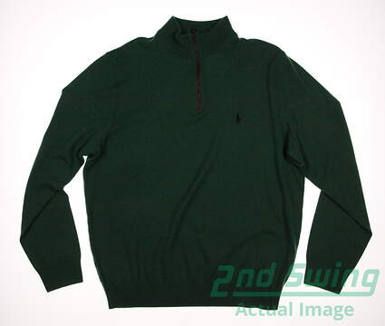 New Mens Ralph Lauren Golf 1/4 Zip Sweater Large L Green MSRP $185