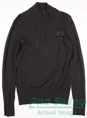 New W/ Logo Womens Cutter & Buck Golf 1/2 Zip Sweater Small S Gray MSRP $80