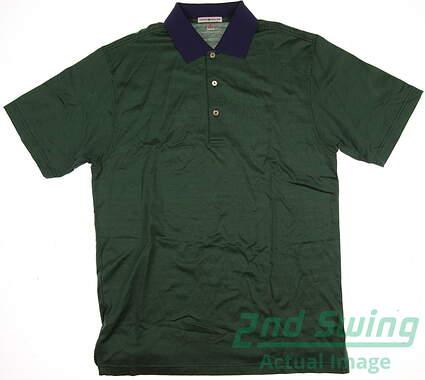 New W/ Logo Mens Peter Millar Golf Polo Medium M Green MSRP $60