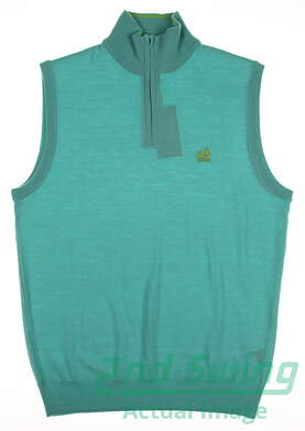 New W/ Logo Mens Ralph Lauren Golf Sweater Vest Small S Green MSRP $154