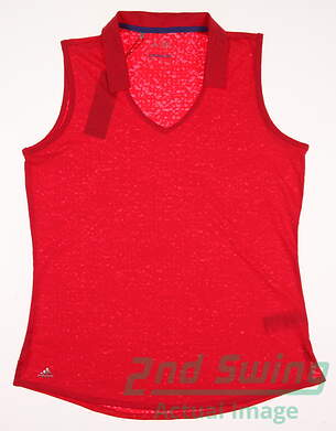New Womens Adidas Golf Sleeveless Polo Large L Pink MSRP $60