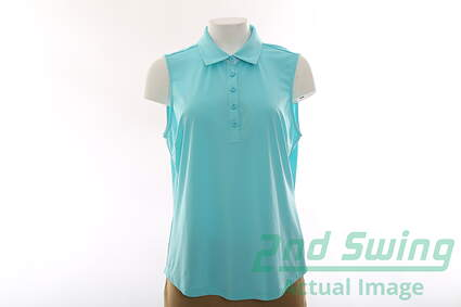 New Womens Greg Norman All Sleeveless Polo Large L Blue MSRP $65