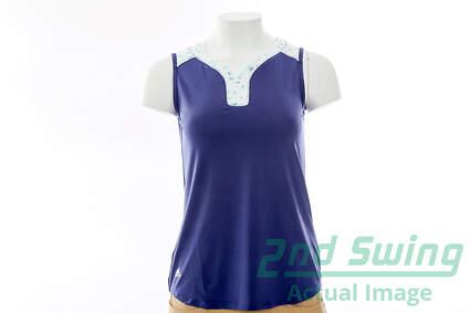 New Womens Adidas Golf Mesh Print Sleeveless Polo X-Small XS Purple MSRP $60