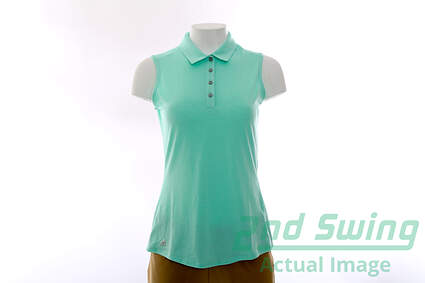 New Womens Adidas Golf Climalite Heather Sleeveless Polo Large L Green MSRP $50