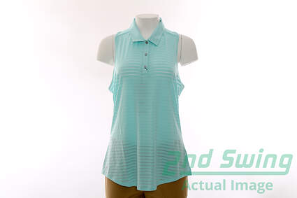New Womens Adidas ClimaCool Sleeveless Polo Large L Blue MSRP $60