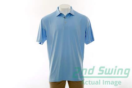 New Mens Peter Millar Solid Stretch Jersey Polo X-Large XL Blue MSRP $79 Summer Comfort MC00EK01S