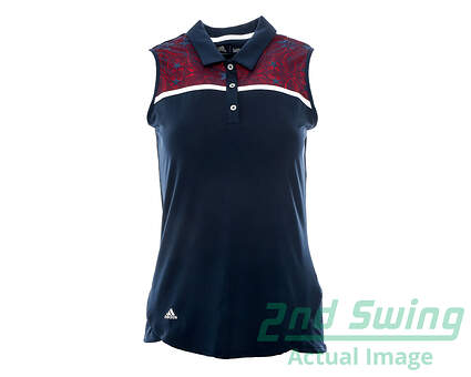New Womens Adidas Golf Climacool USA Star Lace Sleeveless Polo Small S Navy Blue MSRP $65 AF2698