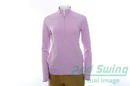 New Womens Adidas Golf Range Wear 1/2 Zip Pullover Small S Purple MSRP $70