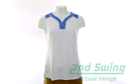 New Womens Adidas Golf Climacool Mesh Print Sleeveless Polo Medium M White MSRP $68