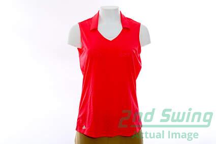 New Womens Adidas Golf Sleeveless Polo Medium M Pink MSRP $68