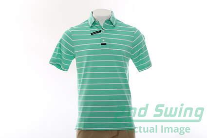 New Mens Footjoy Golf Engineered Back Stripe Polo Medium M Green MSRP $75 20871