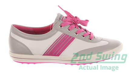 New Womens Golf Shoe Ecco Golf Street 40 (9 - 9.5) White/Pink MSRP $160 12104357359